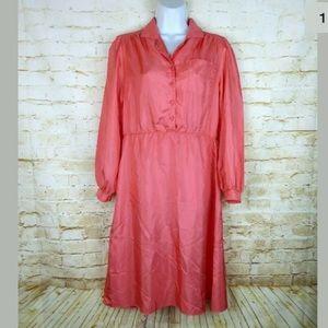 Angel Button Front Long Sleeve Midi Dress